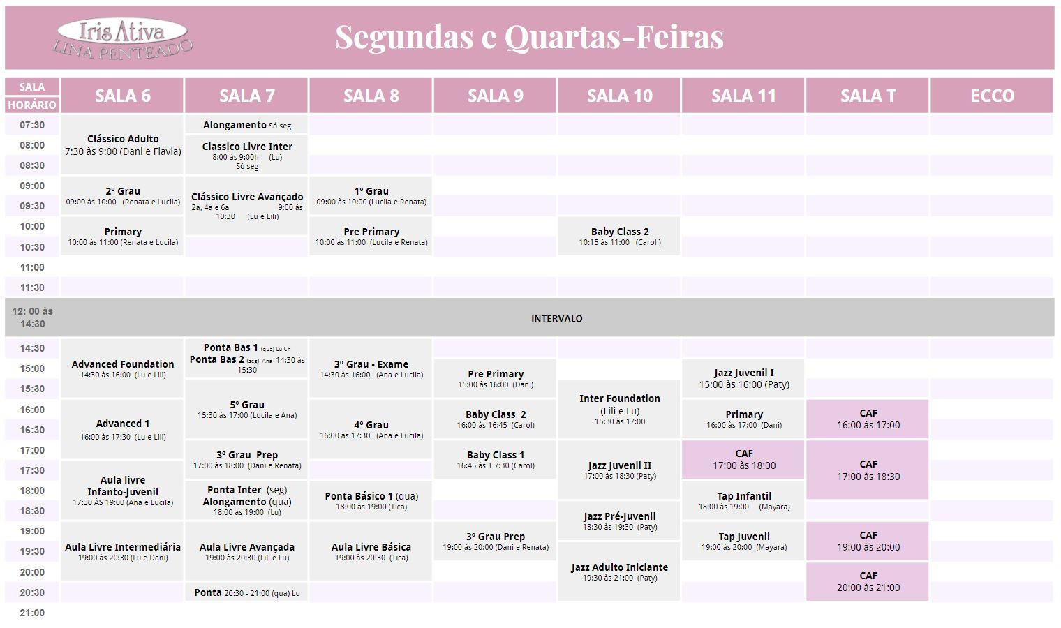 agenda segundas e quartas - marco 2018