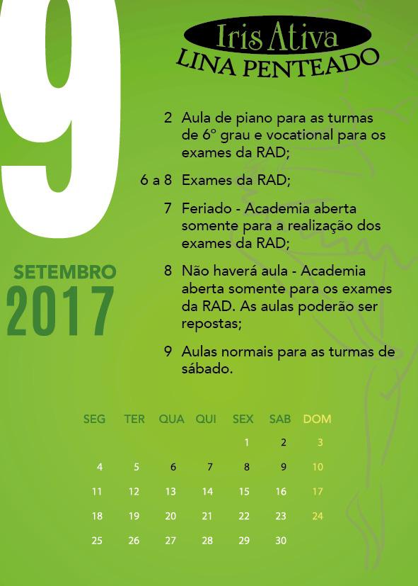 Calendário Setembro/2017