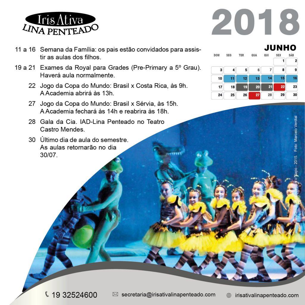 Calendario 2018 JUNHO
