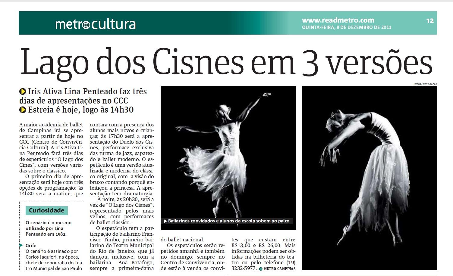 Jornal Metro Festival Lago dos Cisnes